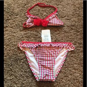 Girls Size 8 Mayoral Checked  Bikini Swimsuit NWT